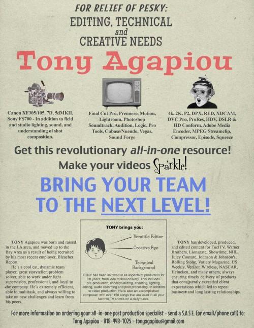 Tony Agapiou's Profile on Staff Me Up